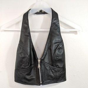 Wilson Black Leather Halter Top Small